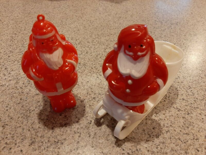 2 Vintage Plastic Santa Candy Container
