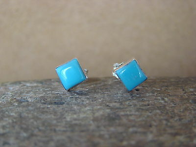 Native American Sterling Silver Square Turquoise Post Earrings! Zuni Indian