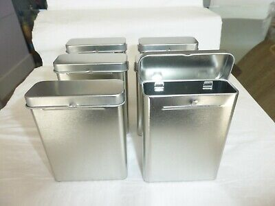 Small Hinged Tin Boxes Mini Container Set For Storage 6 Pcs Hinged Storage Container
