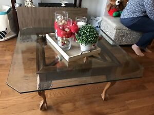 Solid Wood Stand Coffee Table w Glass