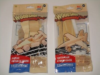 Wood Model Kits - Build Real Wooden Airplane & Race Car LOT of 2 Arts/Crafts Toy