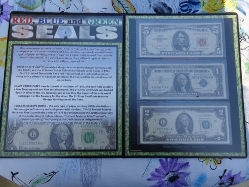 RED, BLUE and GREEN seal Currency Collection VF+