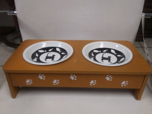 LTD Commodities Pet Food & Water Bowls With Wooden Stand ~ 15 1/2