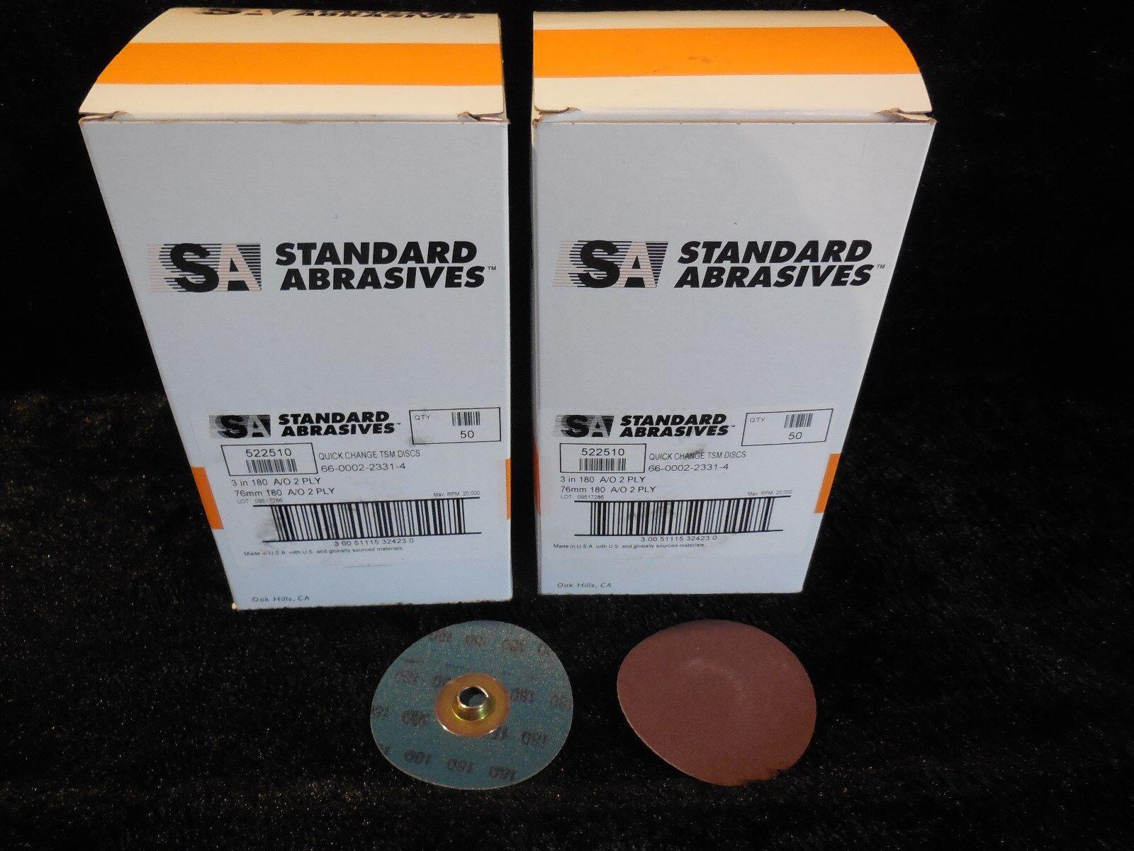 50//Box 2/'/' Grit 80 Standard Abrasives™ Quick Change TSM A//O 2 Ply Disc 522406