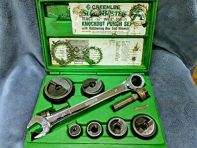 Greenlee Slug Buster Knockout Punch Set W Box End Wrench 7238sb 12 - 2 Used