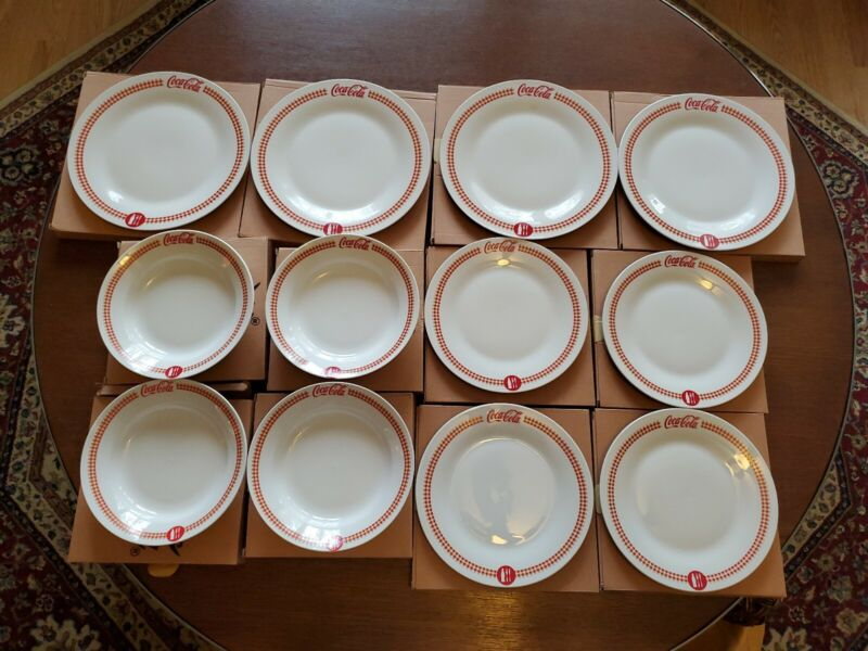 Coca-Cola VINTAGE Set Of 12 pcs.  4 Dinner Plates, 4 bowls, 4 salad plates. NIB