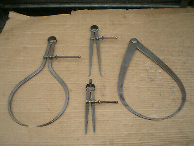 4 Vintage Ls Starrett Co Insideoutside Joint Calipers And Dividers Up To 13