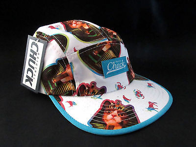MENS CHUCK FIVE PANEL CAT PHARAOH SPHINX CAP STRAPBACK ADJUSTABLE WHITE HAT