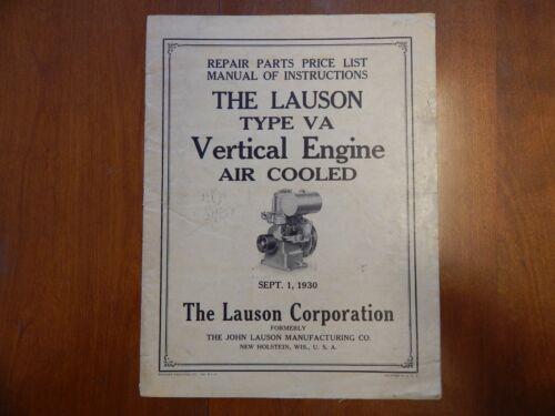1930 Lauson Type VA Engine Manual