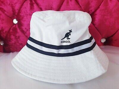 New Kangol White Black Stripe Bucket Hat Boucle Bermuda Cotton L/XL