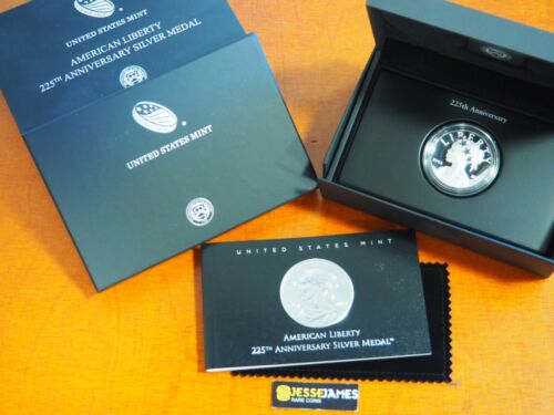 2017 P AMERICAN LIBERTY PROOF SILVER MEDAL IN BOX/COA USMINT 225TH ANNIVERSARY