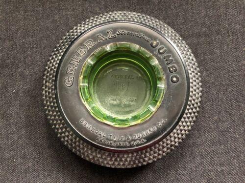Vintage GENERAL Streamline JUMBO Rubber Tire w/ Green Glass Embossed Insert