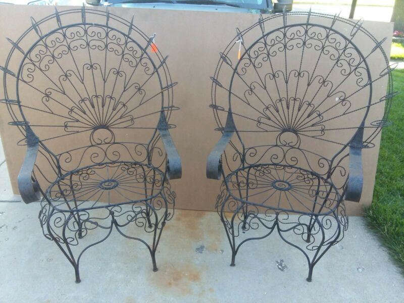 Vintage unique wrought iron metal garden patio outdoor Morticia Chairs