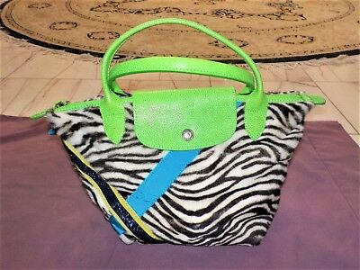 a715c9b67160 NWOT Longchamp Limited Edition Le Pliage Dyed Fur Two-Handle Tote Bag Lime  Green