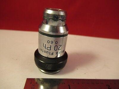 Wild Swiss Objective Phase 20x Ph Fluotar Microscope Part Optics 75-b-27