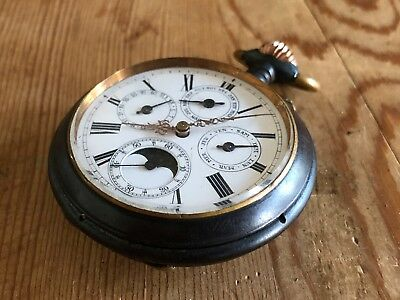 be41b8498f05 Rare POCKET WATCH - Reloj de bolsillo - Con Calendario completo   Fases  Lunares