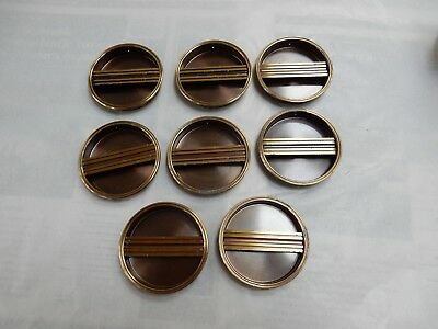 Shoji Screens or Sliding Door Handles 1950s era Brass plated vintage set of 8