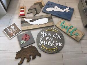 Wood signs home decor art