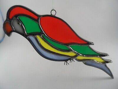 13x16 COCKATOO Bird Tropical Stained Art Glass Framed Suncatcher