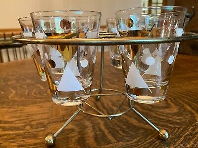 """Vintage MCM 6 glass Bar Set with original stand, Marked """"Gay Fad"""""""