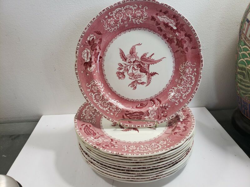 """Set Of 12 Red Copeland Spode Camilla 9 3/4"""" Dinners Old Mark Perfect For Xmas"""