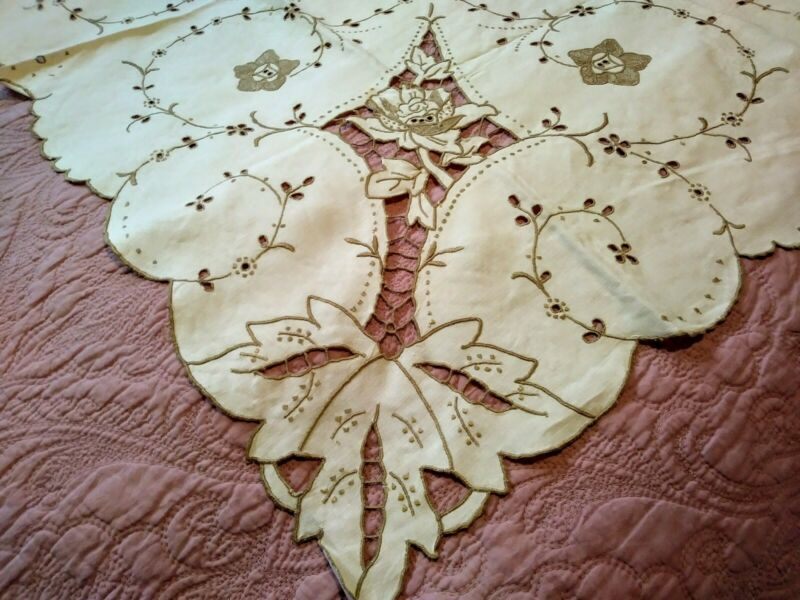 "Beautiful Floral Cutwork & Embroidered Madeira Linen Tablecloth 42 1/2"" by 40"""