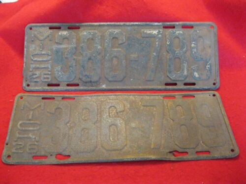 1926 Michigan License Plates: PAIR #386-789