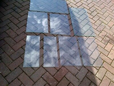 joblot of 8 pieces of old tampered glass shelves single panes of glass