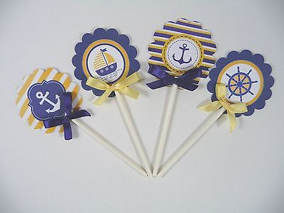 Nautical Cupcake Toppers /yellow and Navy Blue Cupcake toppers 1Dozen  ready use