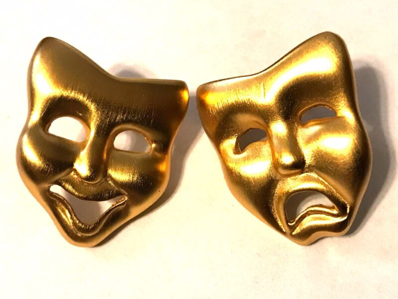"""Vintage Gold Plated Smile Now Cry Later Drama Earrings 7/8"""""""