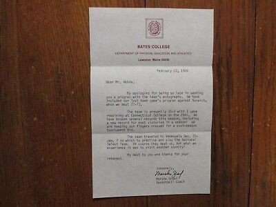 MARSHA GRAEF(Died-'15)Signed 1989 Personal Letter-Bates College Basketball Coach