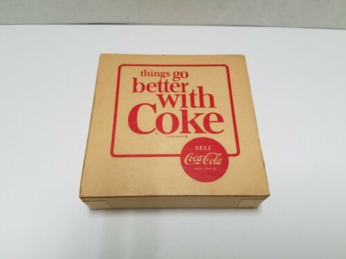 Vintage 1960's Coca-Cola Leather Covered Drink Coasters Set of 3 With Box NOS