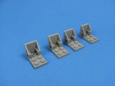 4x LEGO Old Gray Bracket 3x2 2x2 Classic Space Jet Seat 9626 6824 #30562