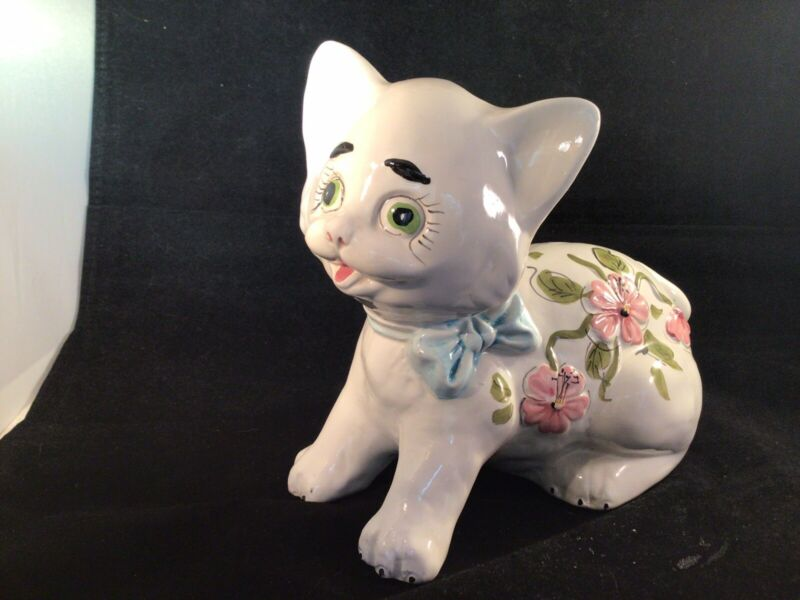 Vintage Italy Ceramic Cat Coin Bank Hand Painted Floral Design