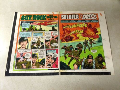 SGT ROCK #393 ORIGINAL ART color guide 2 PAGE SPLASH TITLE, WAR, BOMBS, EASY CO
