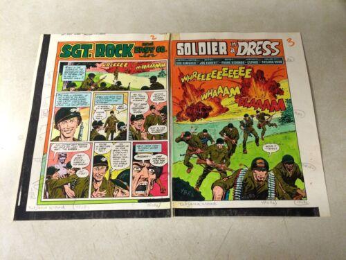 SGT ROCK #393 ORIGINAL ART color guide 2 PAGE SPLASH TITLE, WAR, BOMBS, EASY CO