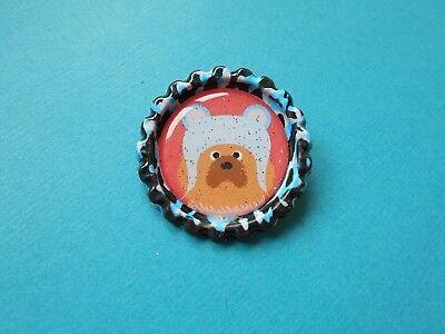 Handmade Christmas Chow Chow Dog Badge Bottle Cap Brooch Face Puppy Blue Pink