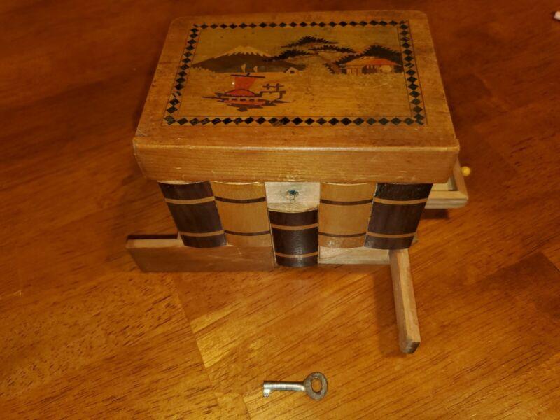 Vintage Japanese Puzzle Box Secret Opening Drawer Mount Fuji River Scene Inlaid