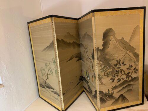 Japanese Vintage/Antique Signed/Stamped Byobu Folding Screen River Scene Ducks
