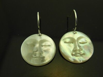Moon Face Hand Carved Mother Of Pearl Iridescent Shell Sterling 15mm  Earrings