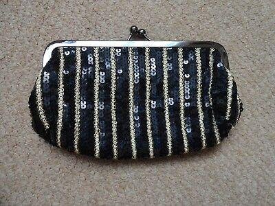 "***MISS SELFRIDGE*** Black & Gold Sequined Clutch Bag (8.5"" x 5.5"") approx."