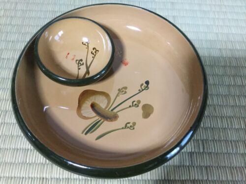Japanese flat type bowls (large & small), Mushroom & Osmunds - 6 & 15cm dia