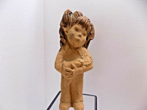 Little Girl Singing to  Doll STUDIO ART SCULPTURE CLAY Lee Bortin Chicago USA
