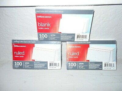 Office Depot Three Packs Of 100 Each Index Cards