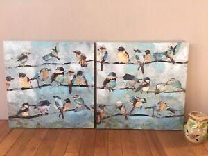 Bird canvas prints and owl warmer
