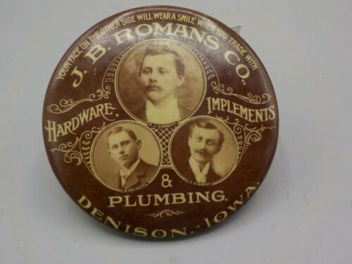 Antique Advertising Pocket Mirror J.B.Romans Denison Iowa Hardware Implements