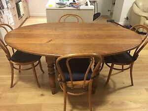 Solid Timber Dining Table with Four Paris Bentwood Chairs Woolooware Sutherland Area Preview