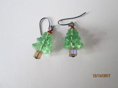 CHRISTMAS CRYSTAL TREE, CRYSTAL BASE STAND EARRINGS sterling dangle hanging