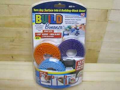 NEW Build Bonanza Building Block Tape 4 Pack of 3 Ft Rolls- works Lego mega DL18