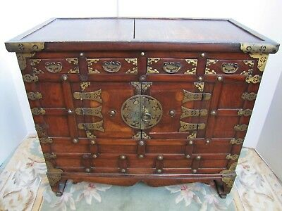 Antique 19th Century Chinese Wooden Chest Cabinet